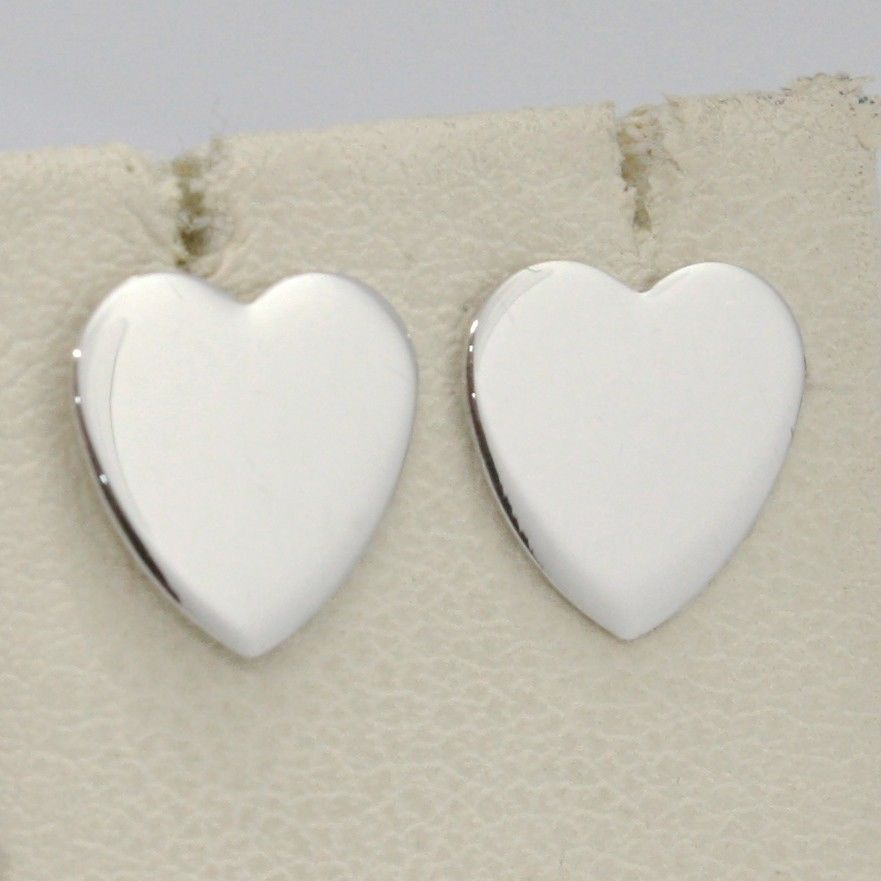 SOLID 18K WHITE GOLD EARRINGS FLAT HEART, SHINY, SMOOTH, 10 MM, MADE IN ITALY
