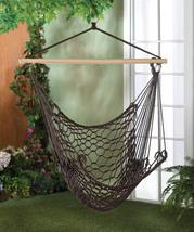 Cotton Net Hammock Swing Chair in Espresso Brown For Garden, Patio, Porch  - £25.99 GBP