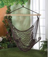 Cotton Net Hammock Swing Chair in Espresso Brown For Garden, Patio, Porch  - £25.76 GBP