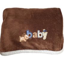 Carter's Just One Year Baby Blanket Puppy Dog Brown Fleece Plush bee blu... - $40.00
