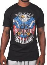 Omit Herren Schwarz American Freedom Stein Eagle Crest T-Shirt