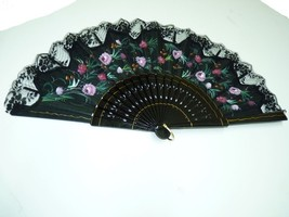 Vintage Italian Collector's Hand Fan, Wood & Hand-Painted-Oil Cloth W 58cm - $132.30
