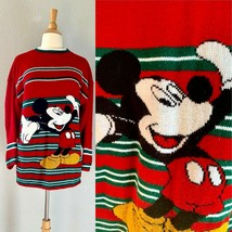 Vintage 80s Red Striped Disney MICKEY MOUSE Christmas Party Knit Sweater... - $37.40