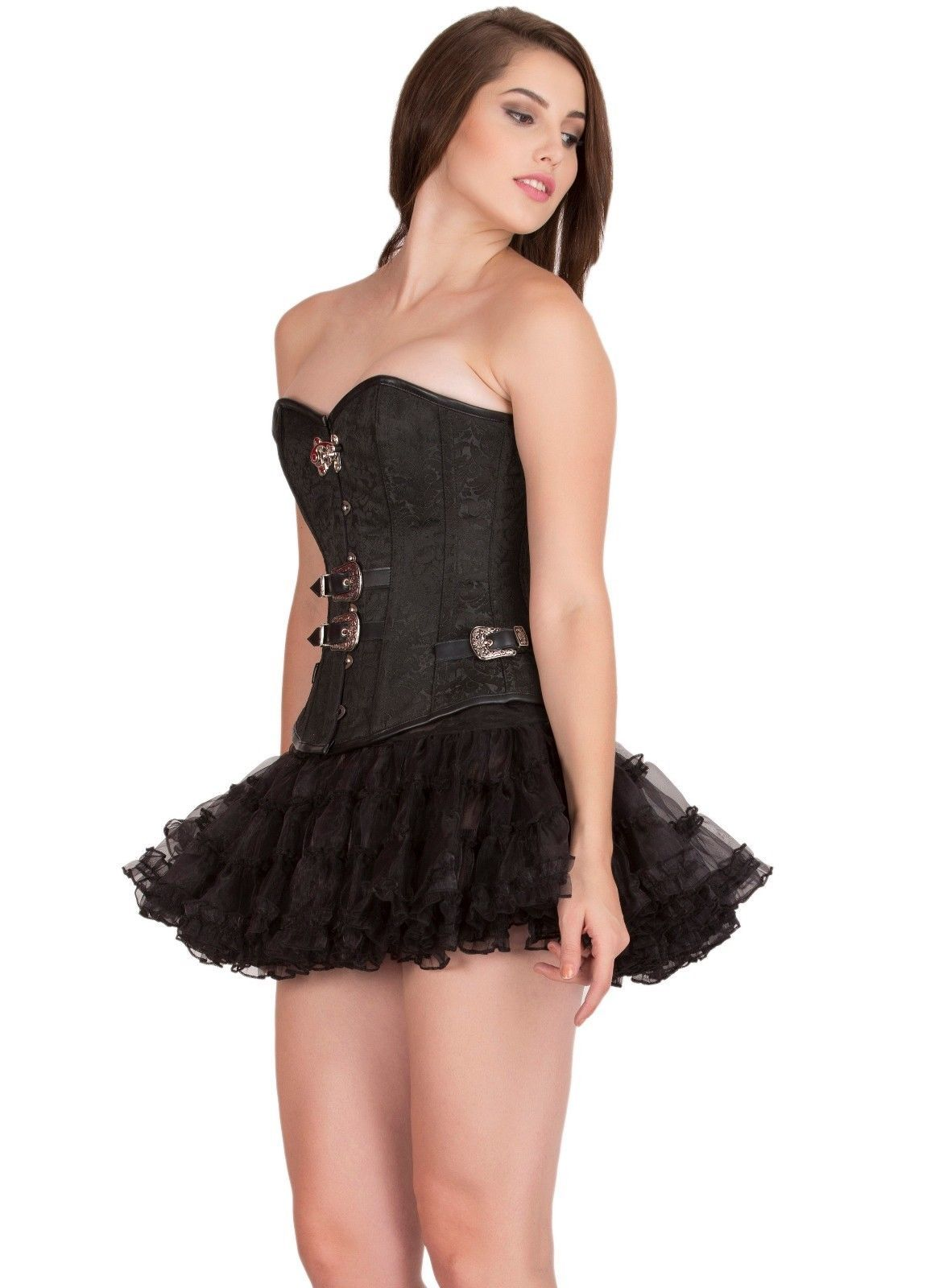 Black Brocade Leather Work Gothic Steampunk Costume Bustier Overbust Corset Top