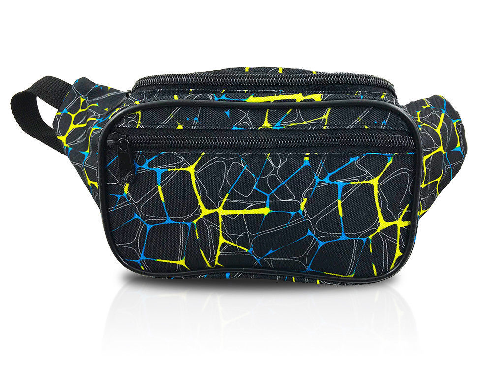 5b7d5e2400838 Retro Fanny Pack / Yellow Blue Krackle Style and 50 similar items