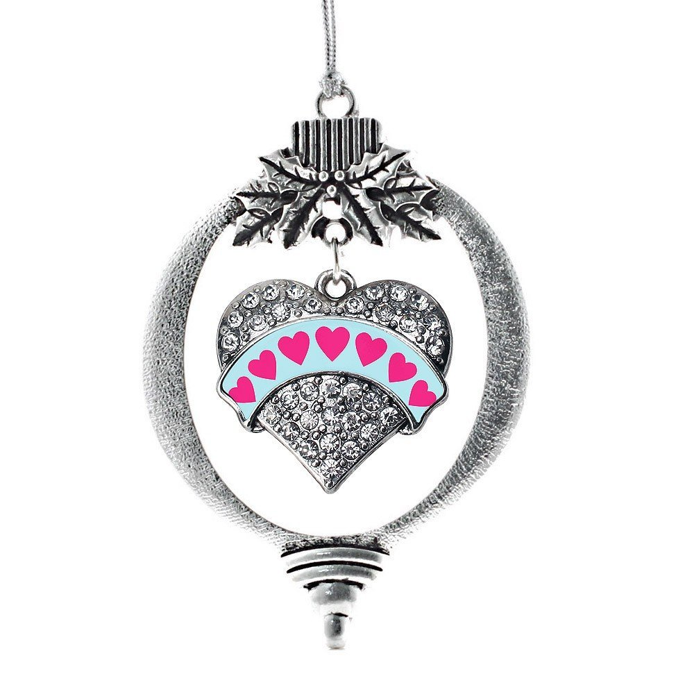 Primary image for Inspired Silver Blue Candy Pave Heart Holiday Ornament