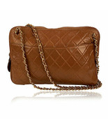 Authentic Chanel Vintage Brown Quilted Leather Shoulder Bag - $970.20