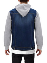 Men's Two Tone Jean And Grey Jersey with Removable Hood Denim Trucker Jacket image 8