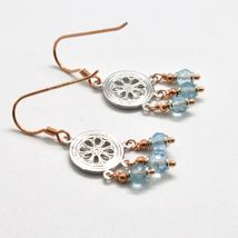 925 Silver Earrings Laminate Rose Gold with aquamarines Faceted image 7