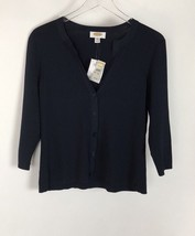NWT Talbots Cardigan Black Button Front sweater Size M 3/4 sleeve - $34.64