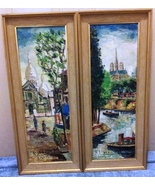 "PAIR OF CITYSCAPES- ""PARIS 1961""  SIGNED BY RAFAEL DAROCA BENAVENT (1927... - $649.95"