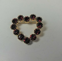 Vintage Red Rhinestone Heart Pin - $17.81