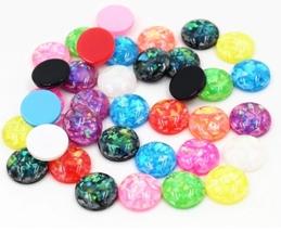 80pcs 12mm Mixed Round Resin Glitter Cabochon Flatback Craft Jewelry Mak... - $12.00