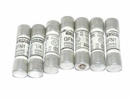 LOT OF 7 FERRAZ SHAWMUT GFN1-1/4 FUSES, 250V, 1-1/4A, GFN1 1/4