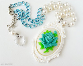 Blue Rose Pendant, Cameo Necklace, Beaded Chain, Silver - Kawaii Jewelry... - $17.00