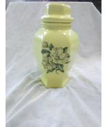 Vintage Ceramic Yellow Lidded Magnolia Vase - $23.95