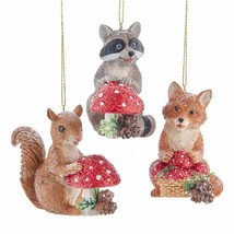 KURT ADLER SET OF 3 FOX RACCOON & SQUIRREL w/MUSHROOM CHRISTMAS ORNAMENT... - $34.88