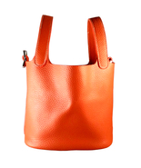 St. Germain Luxury Bucket Bag 18cm Genuine Leather Orange Silver Lock Pi... - $177.00