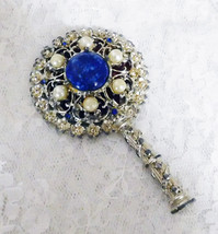 "Vintage Child's Jeweled Hand Held Play Mirror - 4"" long x 2 1/2"" in diam... - $23.36"