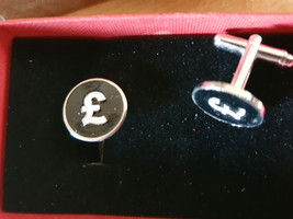silver and black pound sign design,  cufflinks great and unusual gift ,  in gift