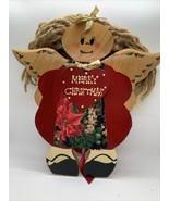 Vintage JDI Fallbrook CA Christmas Angel Folk Art Wood Plaque Mexico - $8.91