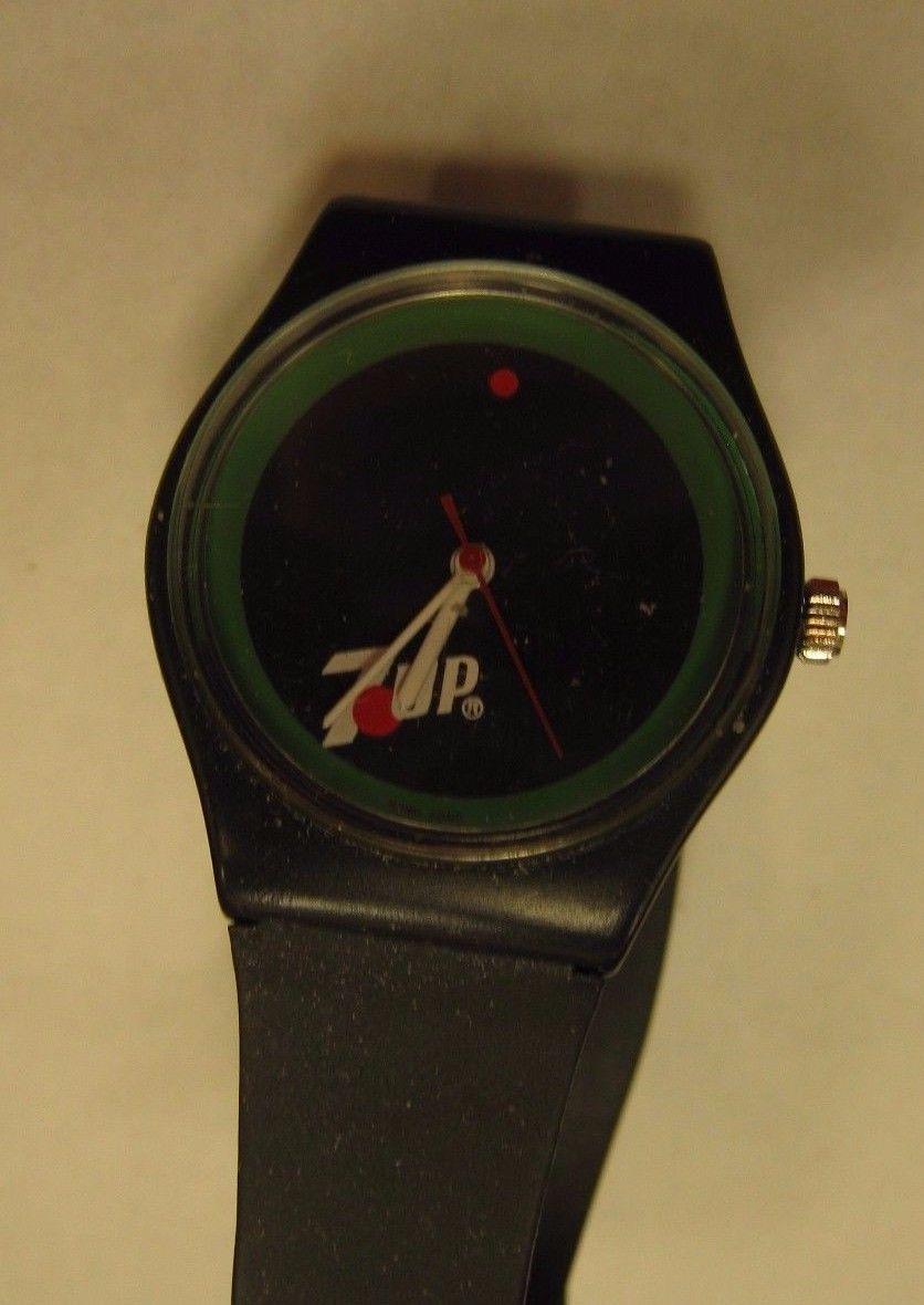 Primary image for BLACK 7UP WATCH NEVER USED FOUND IN A JEWELRY BOX i BOUGHT