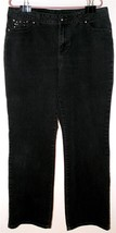 "STYLE & CO. MISSES SIZE 16 x 32"" BLACK DENIM JEANS BOOT CUT EMBELLISHED ... - $18.49"