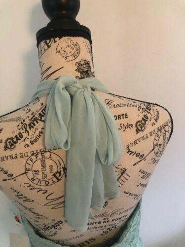 DAVID'S BRIDAL Bridesmaid Dress Sz 8 Lace Chiffon Mint Halter F17020