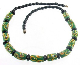 VINTAGE KROBO GHANA RECYCLED GLASS AFRICAN TRADE EYE BEADS BLACK NECKLAC... - $53.99