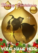 Boston Terrier Puppy Bauble Merry Christmas Personalised Greeting Card C... - $3.88