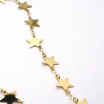 CHOKER NECKLACE YELLOW GOLD 750 18K, STARS FLAT, 40 CM image 4