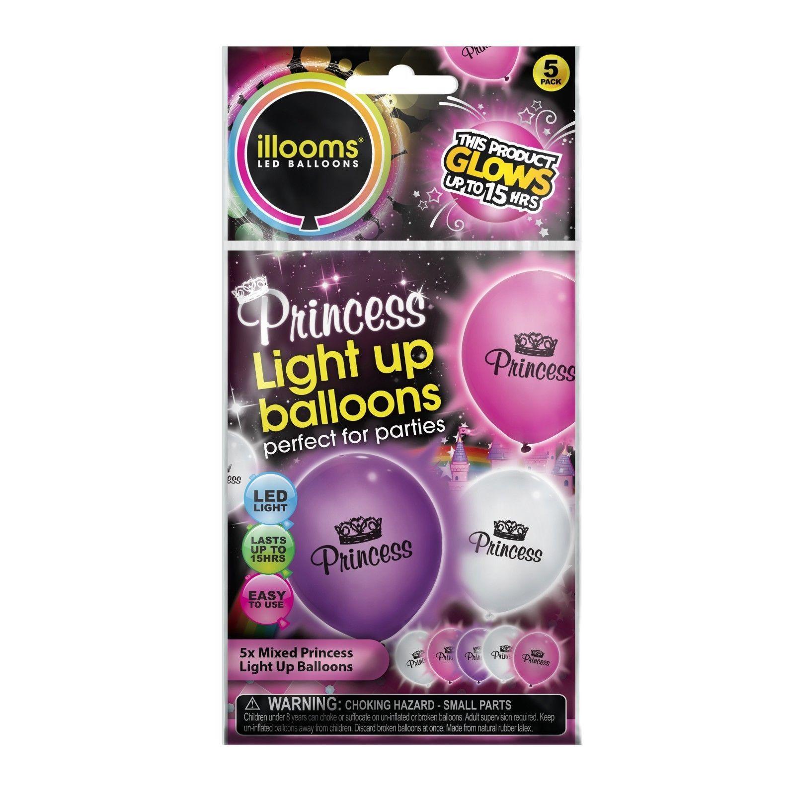 illooms Princess LED Light Up Balloon 15 Pack Birthday Party Balloon