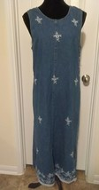 Dress Barn Denim Tank  Jumper Dress size Small Embroidered  long - $13.86