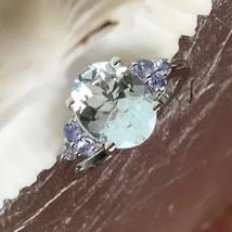 AAA Genuine 2ct Aquamarine, Tanzanite 925 Sterling Silver Sparkling Ring... - $188.09