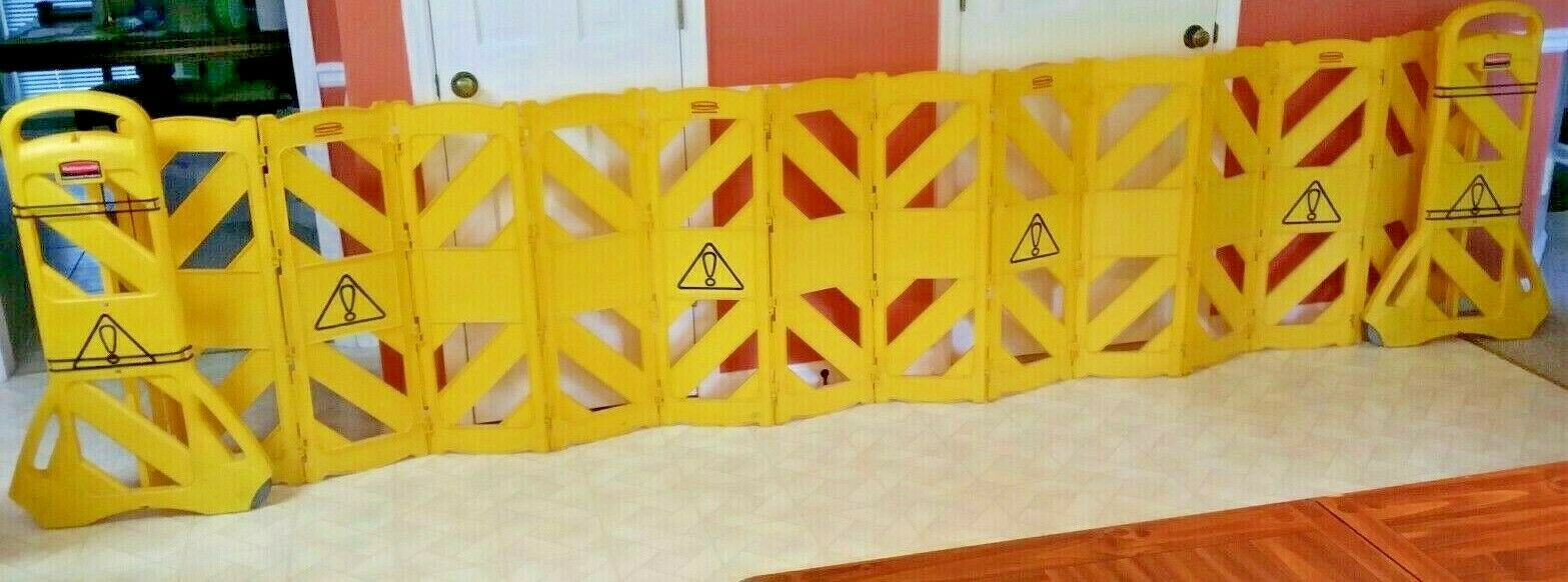 Rubbermaid 13 ft. Mobile Safety Barrier FG9S100YEL 9S11-00 Yellow Crowd Control