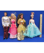 Vintage Barbie Fairy Tale Prince & Princesses Pink Gold Blue Gowns Dress... - $16.82