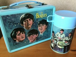 Beatles Metal Lunch Box w/ Thermos New Lunchbox NOS + Stereo & Mono Sets USB image 2