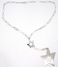 SILVER 925 NECKLACE, CHAIN OVAL, DOUBLE STAR PENDANT WORKED, SATIN image 2