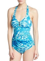 Calvin Klein Swim One Piece Sz 10 Cerulean Blue Halter UPF 50+ Swimsuit ... - $49.44
