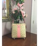 Coach Crossbody Bag Signature PVC Leather F52856 Light Khaki Pink B01 - $89.09