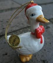 Kurt Adler Christmas White Goose Ornament Santa Hat 3D Shaped 1985 80s Vtg Tag  - $25.19