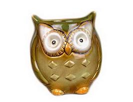 Set of 2 Cute Owl Shape Home Decor Storage Pot Little Ornament(Green)9.510.5cm