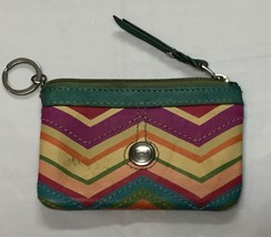 FOSSIL WALLET Leather Change Key ID Purse Multi-Color Chevron Pattern 3X5 - $26.98