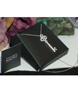 QVC Nadri 18K White Gold Swarovski Crystal Pave' Key Necklace New Box $250 - $98.99