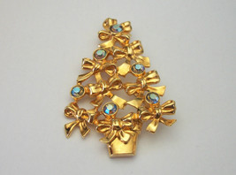 Vintage 1990s Avon Christmas Tree Brooch Gold with Blue AB Rhinestones - $16.99