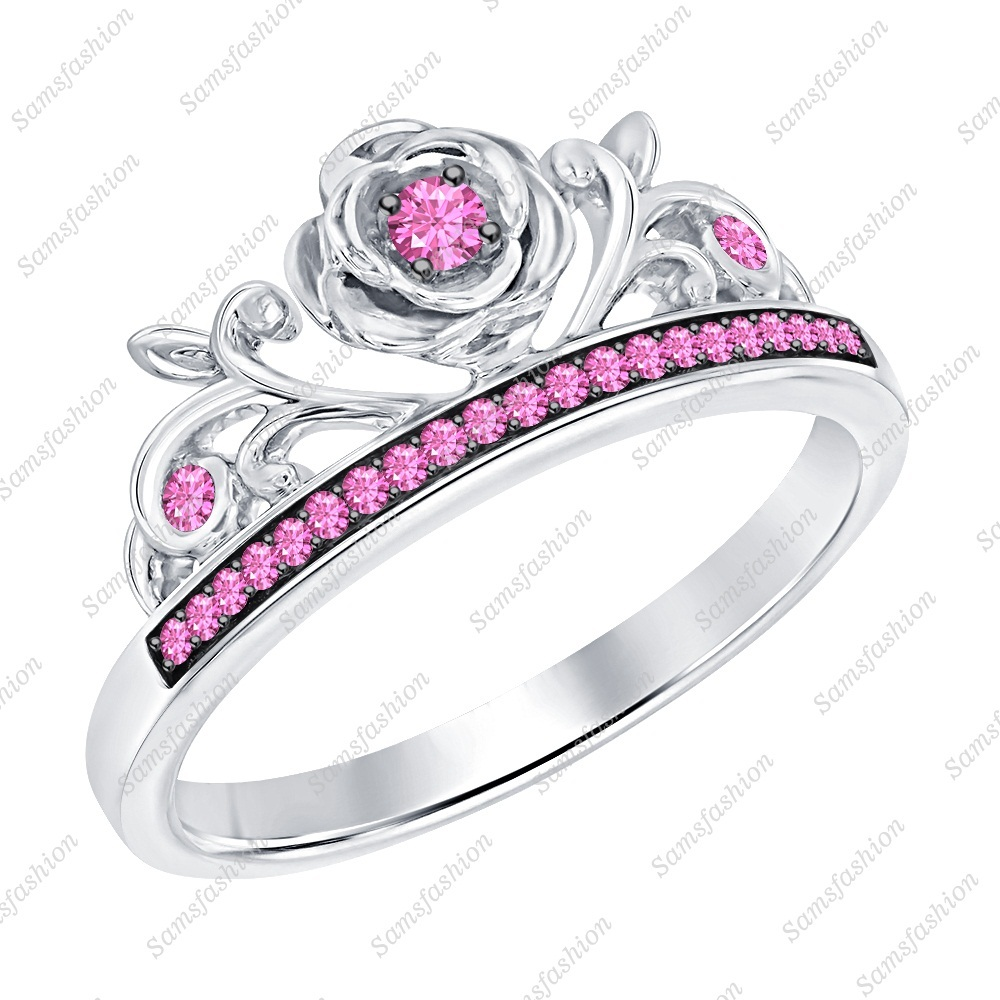 Primary image for Round Pink Sapphire 14k White Gold Over .925 Silver Rose Flower Anniversary Ring