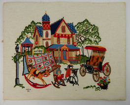 1985 Signed Finished Needlepoint Wall Art Antique Store Yard Sale Colorf... - £30.56 GBP