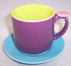 NEW OmniWare Hemisphere Purple/Green/Blue Espresso Demitasse Mug with Sa... - $11.99