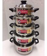 10Pcs/Set Zebra Stainless Steel Pot with Lid 3 Layered Bottom 16- 24 CM.... - $126.72
