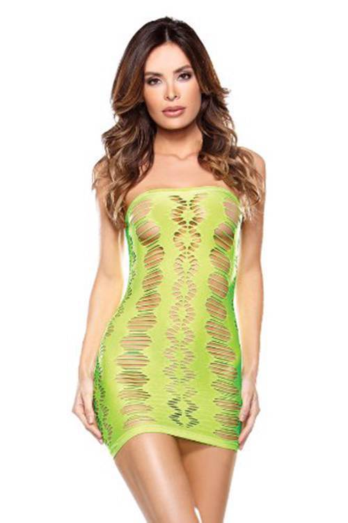 NEW FANTASY LINGERIE WOMEN'S DIAMOND CUTOUT TUBE DRESS GREEN #B625 ONE SIZE